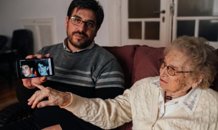 Guillermo Pérez Roisinblit with his rediscovered maternal grandmother Rosa Roisinblit, a member of Grandmothers of the Plaza de Mayo who campaign for the return of the stolen children of the disappeared.