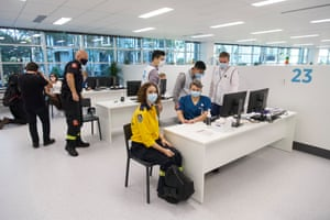 Emergency services and health workers receive their AstraZeneca Covid vaccine at Sydney's Olympic Park vaccination centre on Monday morning.