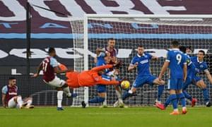 West Ham United's Ben Johnson scores their first goal.