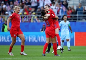 Rose Lavelle of the USA celebrates with teammate Alex Morgan after scoring her team's second goal.