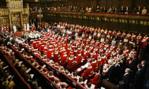 Queen Elizabeth II preparing to give a speech in front of members of the House of Lords