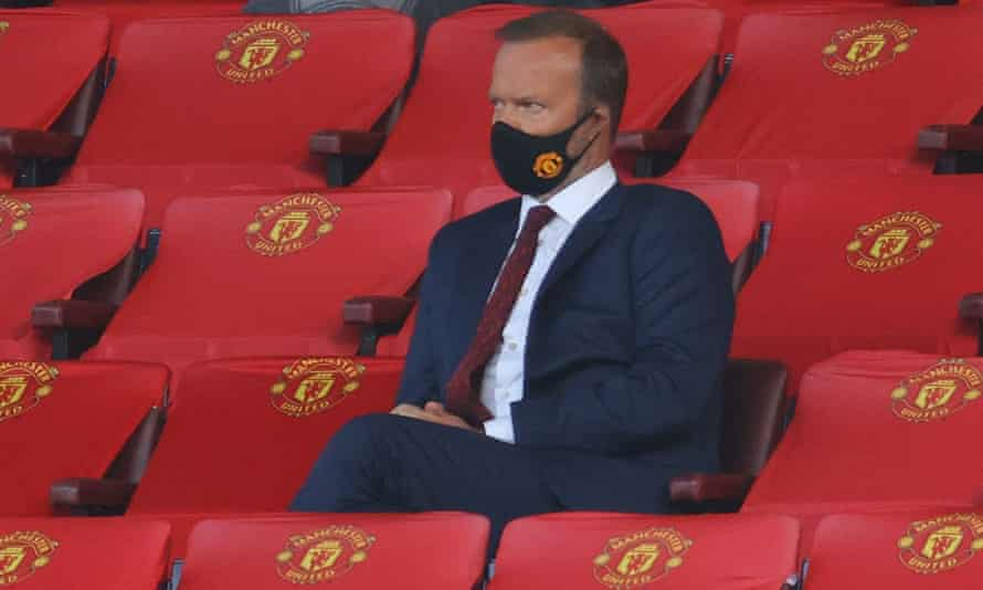 Manchester United's executive vice-chairman Ed Woodward watches from the stands this season.