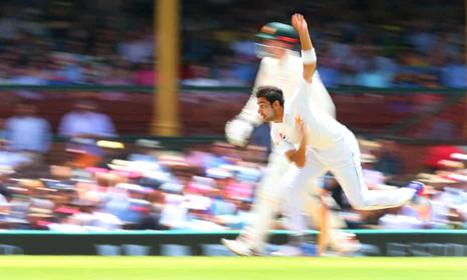 Pakistan's fast bowler Imran Khan in action at the third Test match between Australia and Pakistan in Sydney last year.