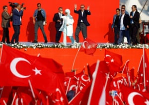 Red state … Turkish president Recep Tayyip Erdoğan attends a rally following a failed coup attempt last year.
