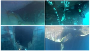 A composite photo showing underwater damage to the four tankers damaged in waters off the UAE on 12 May.