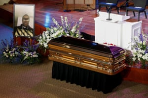 The casket of George Floyd, before the memorial service.