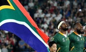 Siya Kolisi, the South Africa captain, sings the national anthem with Tendai Mtawarira before the 2019 Rugby World Cup final.
