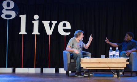Slavoj Žižek in conversation with Gary Younge at a Guardian Live event at the Emmanuel Centre, April 2016.