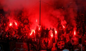 Spartak Moscow  fans in the away end at Maribor on Wednesday night