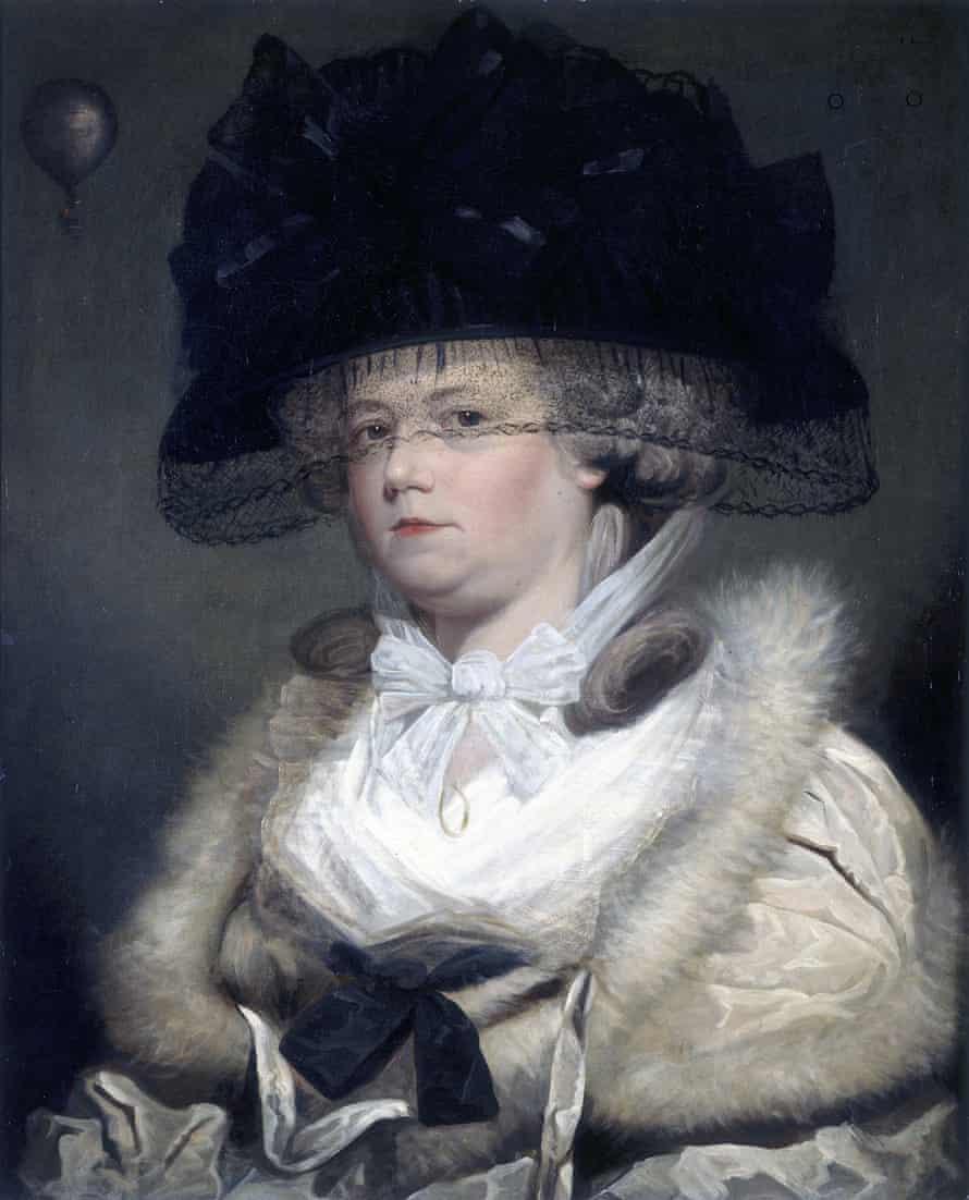 Portrait of the first English female aerial traveller, Mrs Letitia Ann Sage, 1785. H 77cm, W63cm.