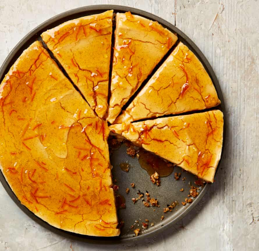 Yotam Ottolenghi's winter spiced cheesecake with marmalade glaze.