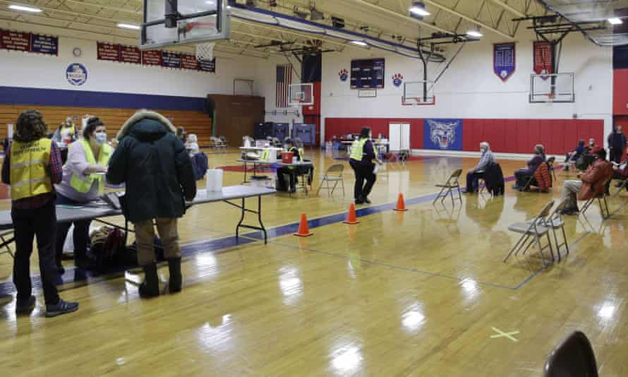 A vaccination clinic at a high school in Hardwick, Vermont in January. Physical distancing and mask requirements have now been dropped in the state.