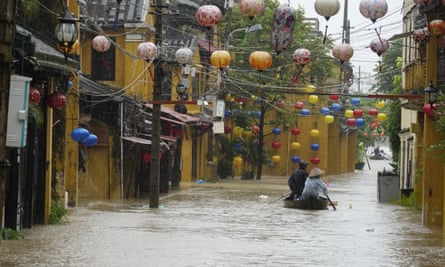 Flooded town of Hoi An after Typhoon Damrey landed on central Vietnam. At least 27 people have died.