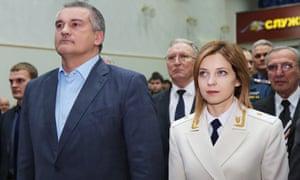 Sergei Aksyonov, governor of Crimea and Natalia Poklonskaya, prosecutor general