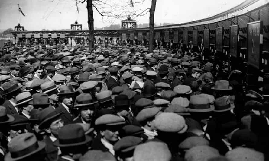 Crowds at the turnstiles before the FA Cup final between West Ham and Bolton in 1923.