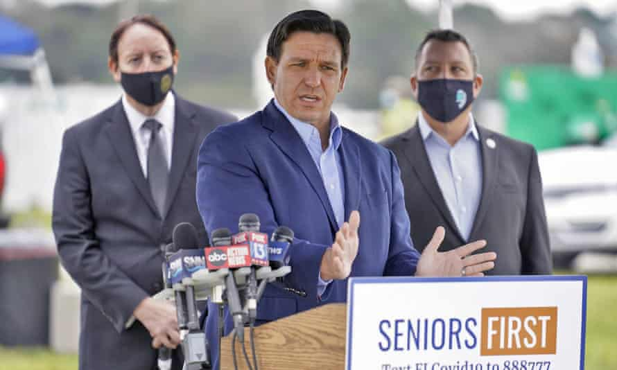Florida's Republican governor, Ron DeSantis, speaks in Bradenton, Florida, on 17 February.