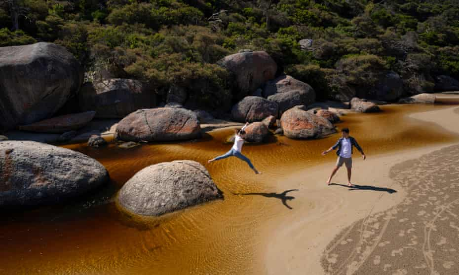 Crossing Tidal River in Wilsons Promontory National Park – one of the day walks within a few hours drive of Melbourne.