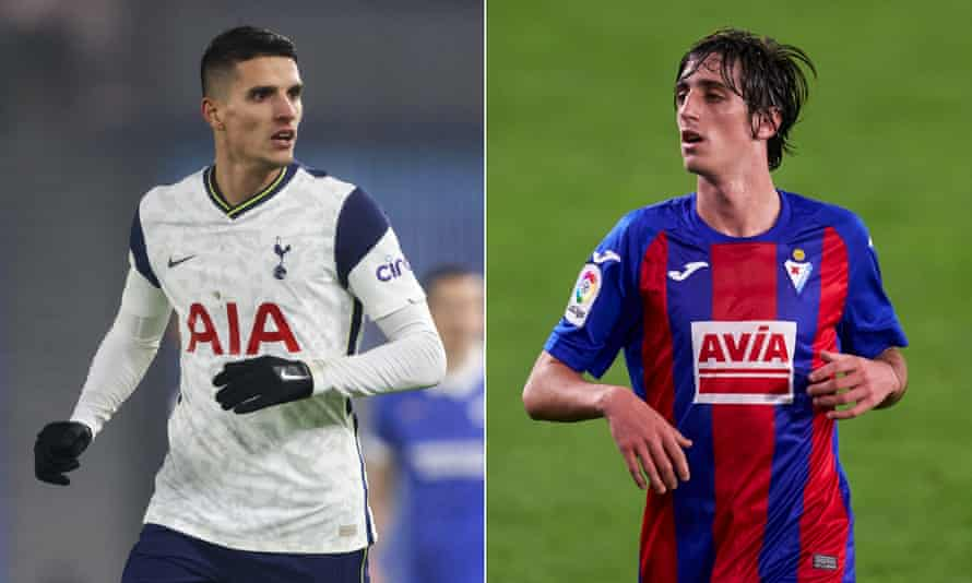 The deal would mean Érik Lamela (left) ending an eight-year association with Spurs and Bryan Gil coming to the Premier League.