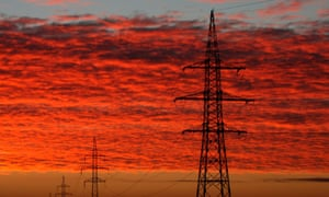 High-voltage power cables pylons in Hungary's Csongrad county.