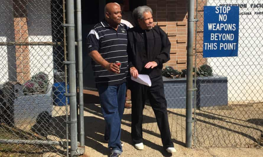 Albert Woodfox accompanied by his brother Michel Mable as he walks out of the West Feliciana Parish Detention Center in Louisiana on 19 February 2016.