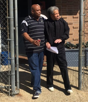 Albert Woodfox, right, with his brother, on the day of his release from prison in February.
