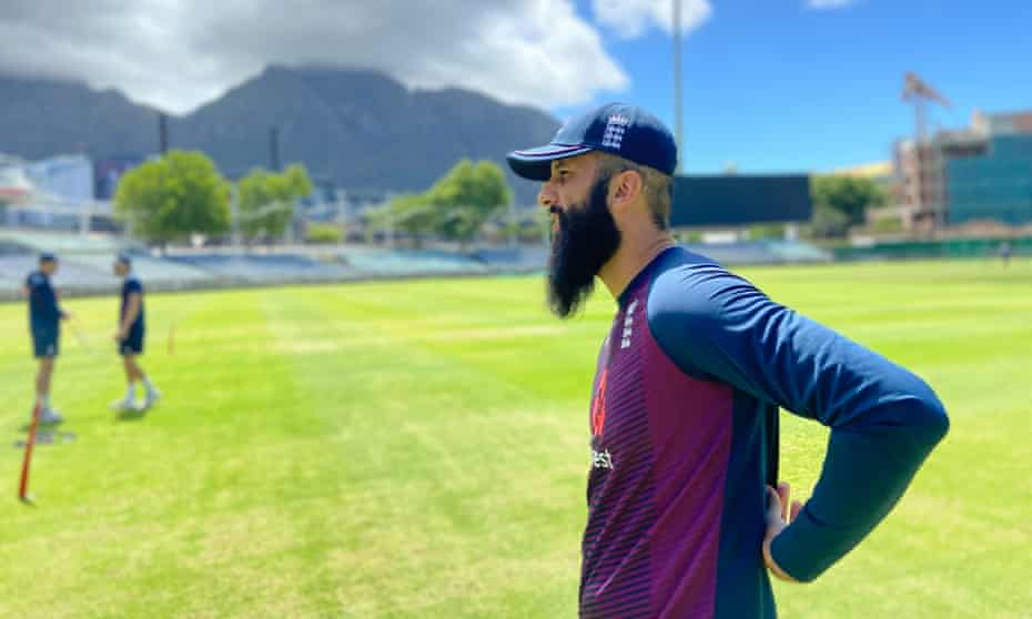 Moeen Ali during England's first training session at Newlands in Cape Town.