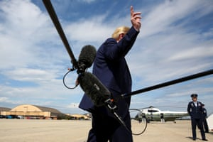 Trump boards Air Force one after speaking with reporters on Thursday.