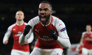 Alexandre Lacazette of Arsenal celebrates after scoring the first of his two first half goals.