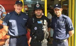 Polish police on patrol in Harlow, Essex