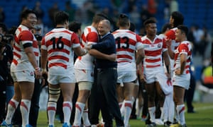 Japan savour an impressive victory over South Africa in 2015, with then head coach Eddie Jones.