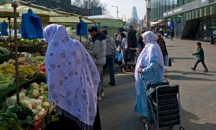 Muslim women shopping in east London