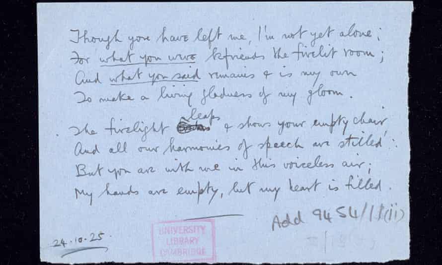 Siegfried Sasson's poem to Glen Byam Shaw, dated 24/10/1925. Classmark MS Add.9454/11