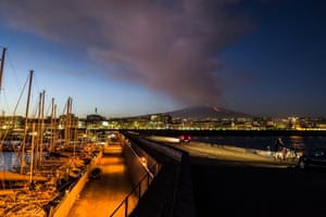 Etna, in full volcanic activity, as seen from the port of Catania
