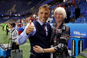 England manager Phil Neville and Baroness Sue Campbell celebrate following their side's victory.