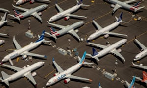 An aerial view of grounded Boeing 737 Max airliners