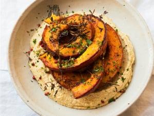 Pumpkin with hummus.