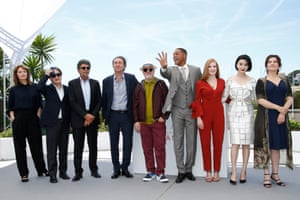 German director Maren Ade, South-Korean director Park Chan-Wook, French composer Gabriel Yared, Italian director Paolo Sorrentino, Spanish director Pedro Almodovar, US actor Will Smith, US actress Jessica Chastain, Chinese actress Fan Bingbing and French actress Agnes Jaoui pose during the Jury photocall