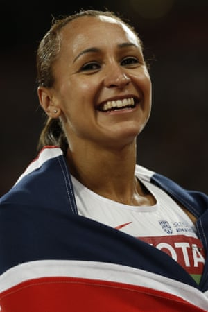 A victorious Jessica Ennis-Hill.