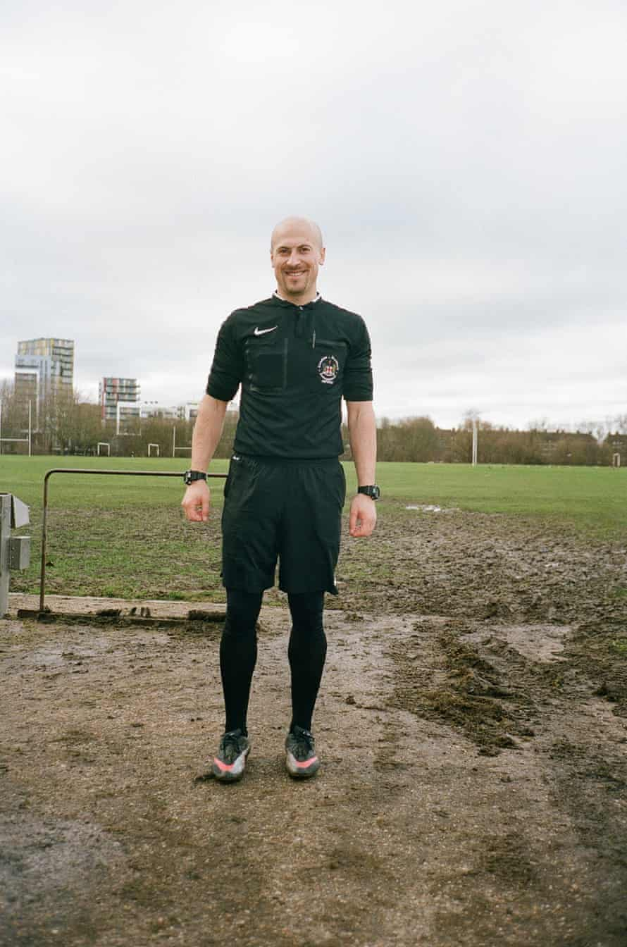 Referees at Hackney Marshes in east London.