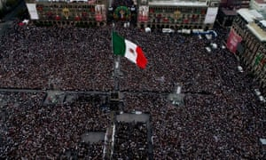Aerial view of the Zocalo square during AMLO Fest to celebrate Mexico's new President Andres Manuel Lopez Obrador in Mexico City, Mexico on 1 December 2018.