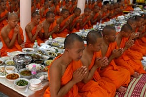 Phnom Penh, Cambodia: Buddhist monks pray at a pagoda during the Pchum Ben festival honouring deceased family members