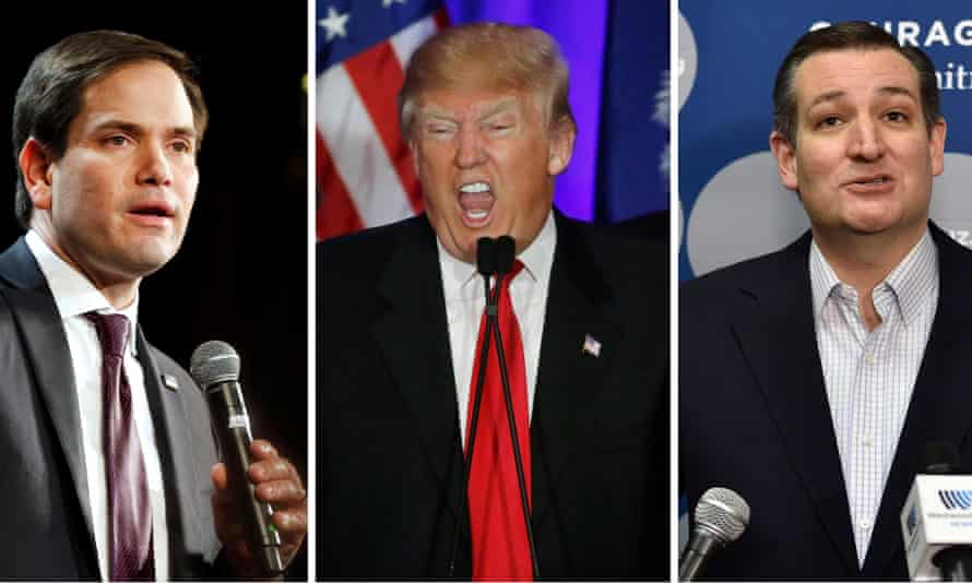 Marco Rubio, Donald Trump and Ted Cruz: Rubio says the Republican nomination is a three-way race.