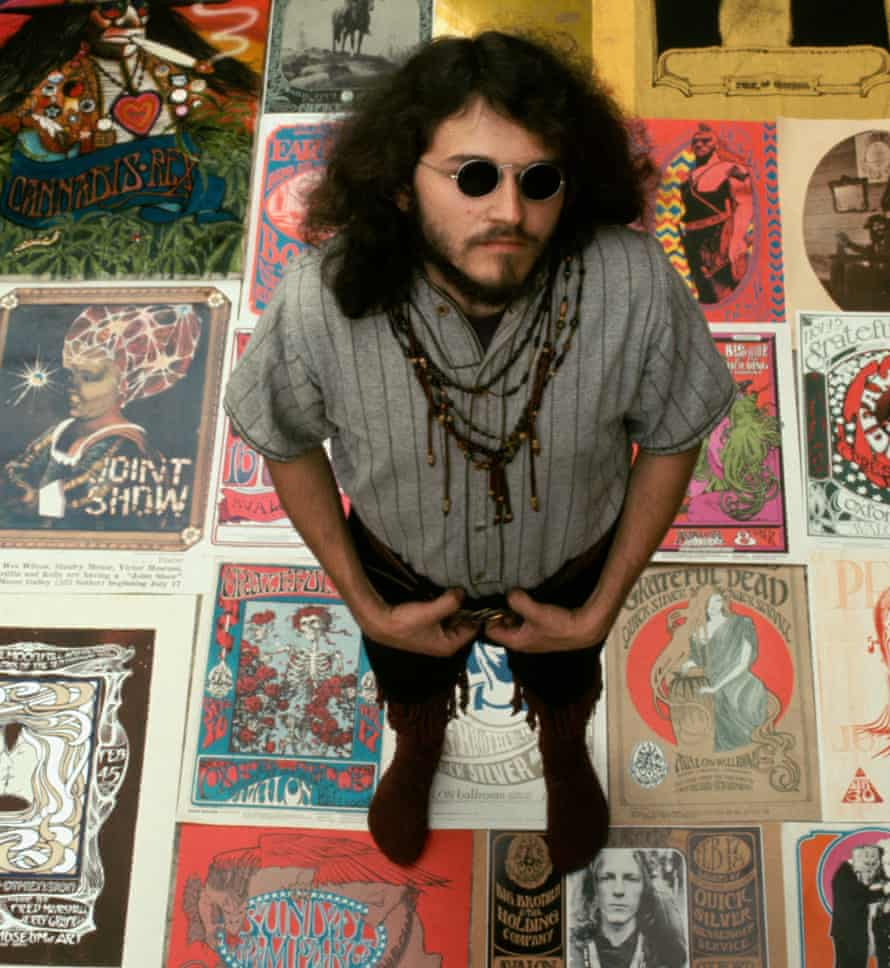 Poster boy: graphic artist Stanley Mouse with some of the posters he designed at the time.