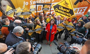 Looking for a soundbite: Jo Swinson on the election campaign trail in Golders Green, north London.