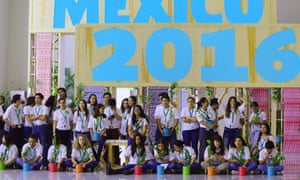 Mexican youth volunteers preparing to plant trees at the UN Biodiversity Conference in Cancun, Mexico on 7 December