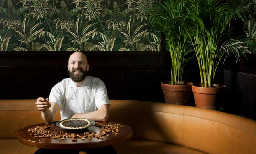Shelling out: Brad McDonald at his new restaurant Shotgun with his pecan pie.