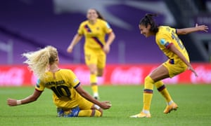 Barcelona's Kheira Hamraoui celebrates after scoring the opening goal in Bilbao.