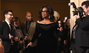 Oprah Winfrey in the press room at the 75th Golden Globe awards on 7 January 2018.