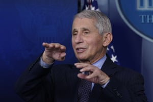 Dr. Anthony Fauci, director of the US National Institute of Allergy and Infectious Diseases, speaks with reporters at the White House, in Washington.