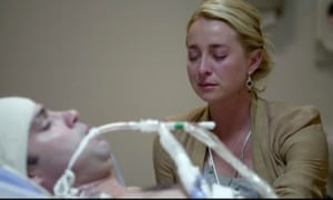 Offspring S4E12 Nina Proudman (played by Asher Keddie) watches Patrick Reid (played by Matthew Le Nevez) on hospital bed